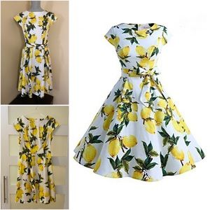 Retro Vibe Lemon Print Dress